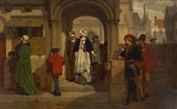 faust et mephistophélès attendant marguerite à la sortie de l'église by wilhelm (guillaume) koller