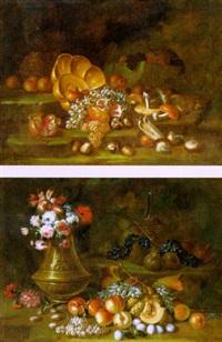 natura morta con uva, melograni, funghi e bacile in ottone by antonio crespi