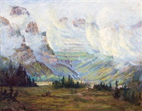 colorful mountain scene amid clouds by orson d. campbell