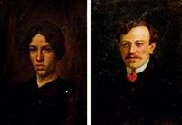 portraits d'homme et de femme (pair) by simon claude (vanier) abramovitsch