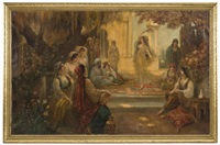 orientalist scene of a harem by august stephan