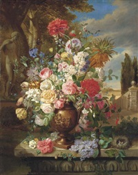roses, lillies, tulips, poppies and other flowers in a vase in a classical garden by john wainwright