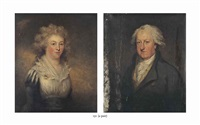 portrait of mary scandrett harford, née gray (1750-1830), half-length, in a white chemise and portrait of william battersby (1732-1812) (pair) by carl fredrik van breda