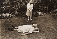 mrs. braverman, an early feminist, teeing golf balls in her husband's mouth, rochester, new york by leslie krims