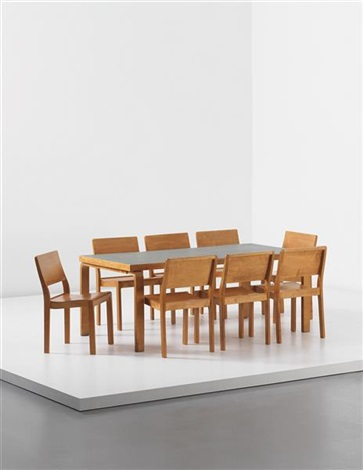 dining table and set of eight stacking chairs model no 113 9 works by alvar aalto