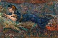 la dame en bleu admirant sa bague by georges (ferdinand) lemmers