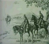 kavallerie begegnet flugzeug. by albert reich