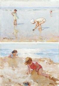 enfants sur la plage (pair) by charles garabed atamian