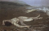 leander's body washed ashore by johann axel gustaf acke