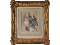 portrait de femme de profil coiffée d'un chapeau by jean-martial fredou