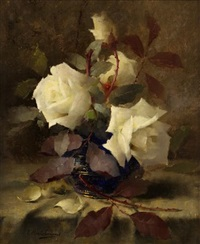 white roses by frans mortelmans