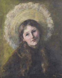 portrait of a young girl by georgina alice (ina) gregory