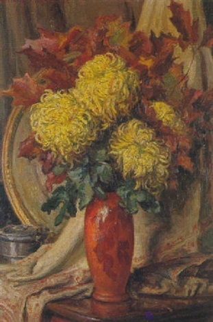 bouquet de chrysanthèmes by henri vincent anglade