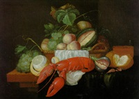 peaches, grapes, and other fruit in a basket, a partly peeled lemon, a crayfish and other objects on a partly draped ledge by wouter mertens