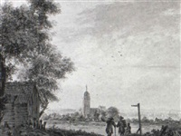extensive landscape with a square-towered church and travellers by pieter jan van liender