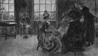 women having tea, man reading book by edwin austin abbey