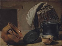 an earthenware pot, a cast iron frying pan and a cooking pot, with a basket and cloth, set before a hearth by govert camphuysen