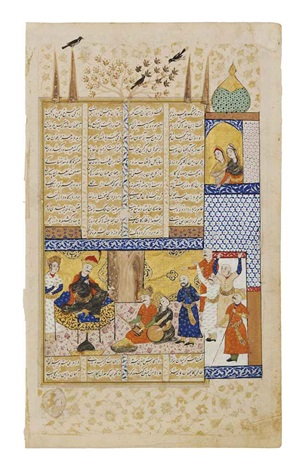 a noble sits entertained by musicians and courtiers two ladies watch from above from a persian epic by anonymous iranian 17