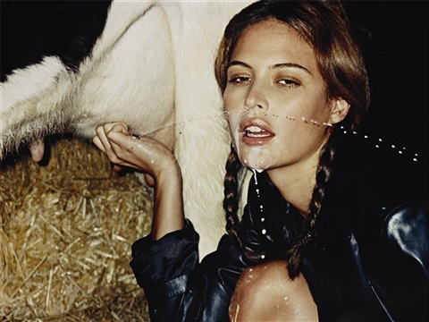 untitled (model squirted with cow milk), outtake from sisley campaign by terry richardson