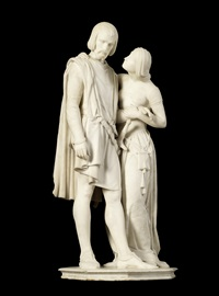 figural group of dante and pia (from dante's divine comedy) by pio fedi