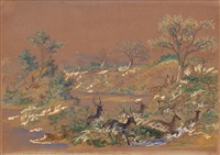 herd of waterboks (ellipsenwasserbockherde) by john thomas baines