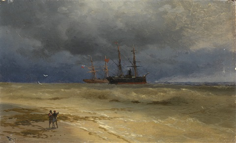 two ships anchored off a beach by ivan konstantinovich aivazovsky