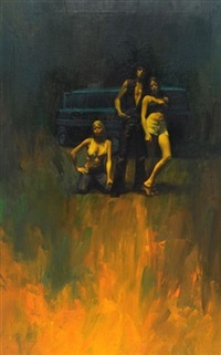 threesome standing, van in background (bk illus. for the redeemers) by fred pfeiffer
