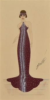 élégante en robe bordeaux et bandeau assorti by erté