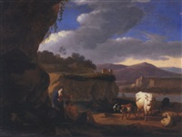 an italianate landscape with a shepherd couple with sheep, cattle and goats by martinus de la court