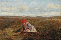 a girl on a field by hans ludvig smidth