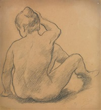 femme nue assise de dos by alfred roll