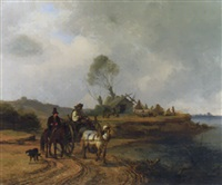 a coastal scene with countryfolk on a track and figures building boats beyond by john o'connor