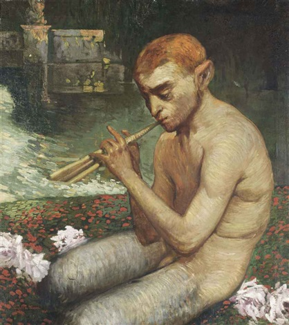 pan playing a tune by the river by gaston la touche