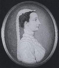 a lady wearing white dress, lace ruff and cap with falling lace by peter paul lens