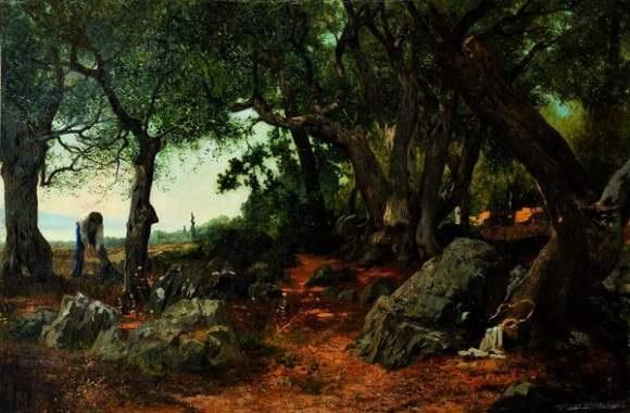 bucheron près dun chemin by jean d alheim
