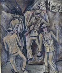 british soldiers in a trench by george bissill