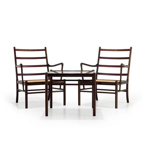 Colonial Chair karmstolar, 1 par samt bord set of 3 by Ole Wanscher ...