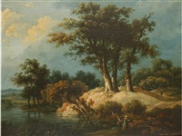 view in the lake district by julius caesar ibbetson