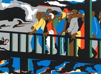 confrontation at the bridge (from not songs of loyalty alone: the struggle for personal freedom series) by jacob lawrence