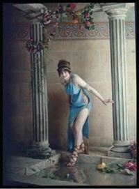 bacchante dans une fôret et siège antique (2 works) by edmond goldschmidt