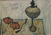 nature morte à la lampe et tomates by bernard buffet