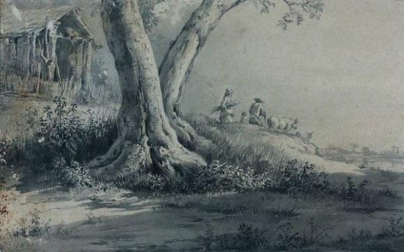 paysage avec un troupeau et son vacher by jean jacques de boissieu