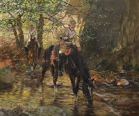 guard cuirassiers at forest brook by theodor rocholl
