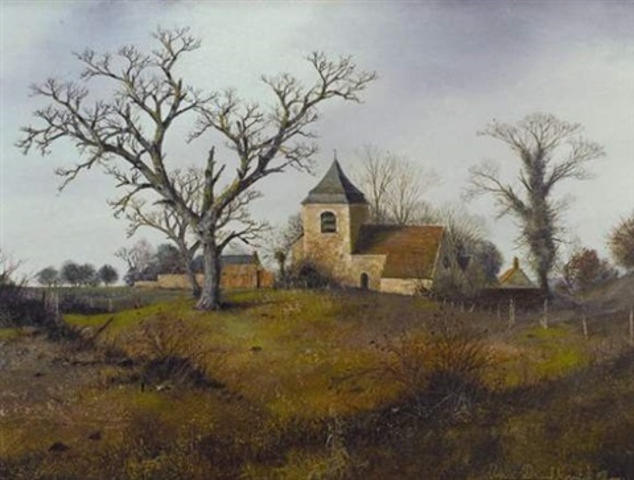 paysage dautomne avec chapelle by albert drachkovitch