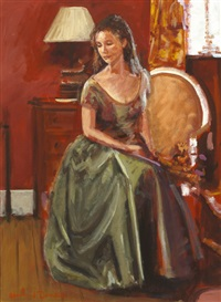 girl with green dress by rowland davidson