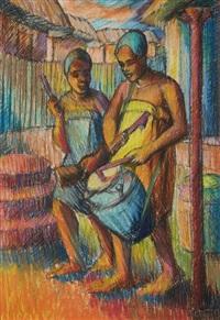 akan drummers by kofi antubam