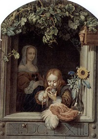 a boy blowing bubbles in a window with a maid standing behind by anna de frey