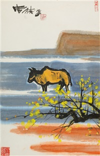 yellow cattle and tree in a seascape by shiy de-jinn
