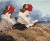 zwei damen bei einer kutschenfahrt by james hayllar