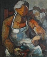 jeune femme au moulin à café by gomir-anton kos